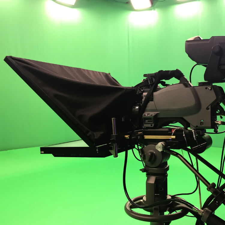 In studio video production with green screen and virtual sets